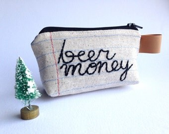 Coin Purse - Key Chain - Beer Money - Hand Embroidered - Notebook Paper Fabric - Repurposed Denim Jeans