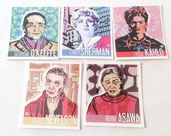 Temporary Tattoos Women Artist , Frida Kahlo, Cindy Sherman, Georgia O'Keeffe, Ruth Asawa, Louise Nevelson by TWOINTHEBUSH