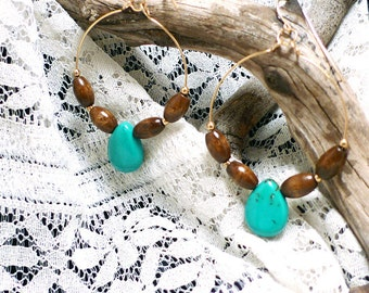 Turquoise Teardrops with Wooden Beads Earrings