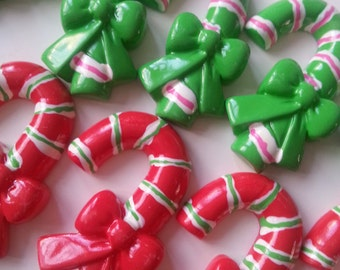10, candy cane, destash, supplies, cabochons, red and green,