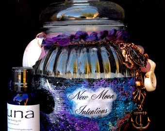 Mermaid New Moon Intentions Jar and Luna Magical Oil