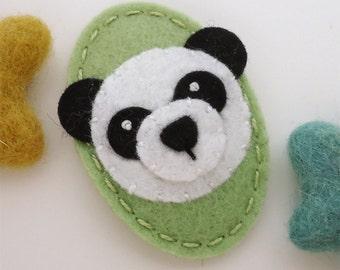 Felt hair clip -No slip -Wool felt -Panda -spring