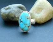 Kingman turquoise ring, sterling silver ring, size 7 ring, genuine turquoise ring, silver turquoise, blue gemstone, turquoise jewelry