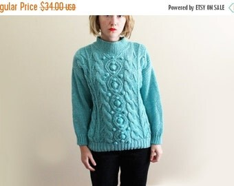 50% OFF SALE vintage sweater handknit turquoise womens clothing 1980's pom pom cableknit size small medium large s m l