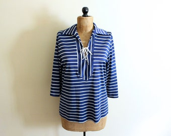 SALE vintage shirt 60s nautical tunic 1960s striped navy blue white bell sleeves hippie womens clothing size large l