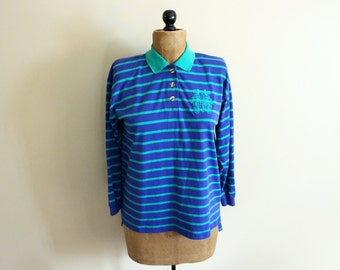 SALE vintage shirt striped blue 1980s green pullover clothing small s medium m
