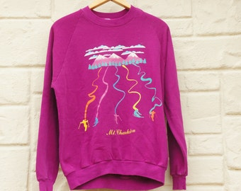 Vintage 90s Mt Charleston Sweatshirt/ Hippie/Activewear/ Ugly Sweater