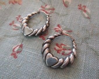 sterling silver heart earrings - pierced, puffy hearts