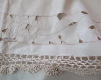 vintage crocheted lace CURTAIN - cut out flowers, cream, ecru, cotton