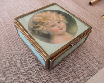 vintage trinket box with glass sides and mirror - little girl with curly hair, Sweet Dreams