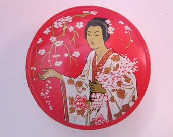 vintage typewriter tin - MADAME BUTTERFLY - Asian inspired, red tin