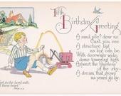 Fifth Birthday Greeting Antique Postcard - Happy Birthday, Birthday, Birthday Cards, Children, Boys, Toys, Paper, Ephemera