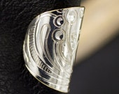 Oval silver ear cuff, artisan ear cuff, handmade ear cuff, repurosed metal ear cuff, ear wrap, non pierced earring, silver and brass earcuff