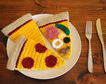Amigurumi Crochet Play Food Personalized Pizza Slice Set