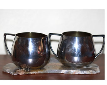 Cream and Sugar Set Quadruple Silverplate Empire Crafts Quadruple Plate