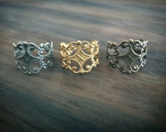 Fancy Filigree Ring // Choose Color: Raw Brass, Antiqued Silver, Bronze // Adjustable // Renaissance Style