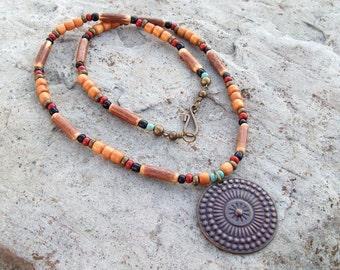 Round Medallion Pendant Necklace, Wood tribal Boho necklace