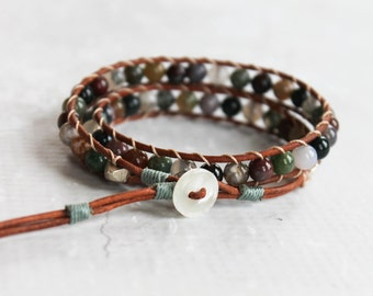 Wrap Bracelet, Brown Leather Wrap Bracelet, Agate Wrap Bracelet, Agate Beaded Bracelet, Boho Wrap Bracelet, Bohemian Jewelry, Beach