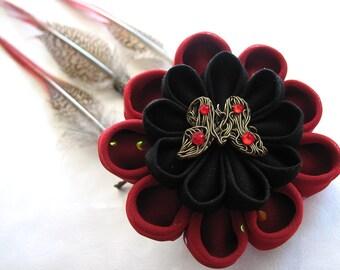 Treasure of the Firebird Kanzashi Flower Barrette Fascinator
