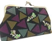 clutch purse - don't be an ass - 8 inch metal frame clutch purse - large purse- black - donkey - cart - penguin - kisslock clutch