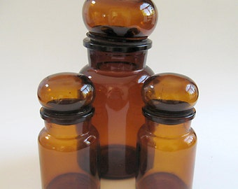 Three Vintage Dark Amber Brown Apothecary Glass Jar Canister Bubble Tops Belgium