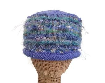 Knit Beanie Knit Cloche Woman's Hat Lavender Wool Hat Multicolored Hat Mohair Cap Boutique Hat Woman's Winter Hat Knit Hat