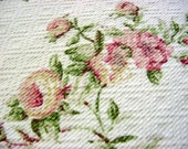 Covington Soft Floral Decorator Fabric -Textured Like Barkcloth Cotton -Pink Yellow Green Rose Hydrangea Daisy Flower Drapery Material OOP