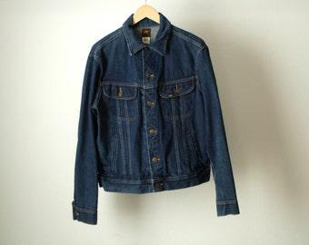 INDIGO blue dark DENIM JACKET 80s classic blue cotton