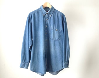 CHAMBRAY indigo twin peaks 90s DENIM faded button up men's vintage button up down denim shirt