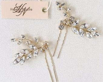 SAGE- Swarovski Crystal Bridal Hairpins- Set of 2