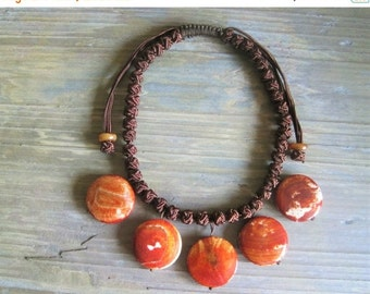 20% OFF ON SALE Orange Fire Agate Pendant with Button Knots Necklace, Gemstone Jewelry