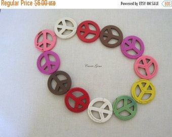 """20% OFF ON SALE 16"""" long (12 pcs) Multi Color Howlite Peace Sign 34mm Beads"""