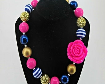 Navy, Pink and Gold Mix and Match chunky bubblegum Necklace for Little Girls Photo prop