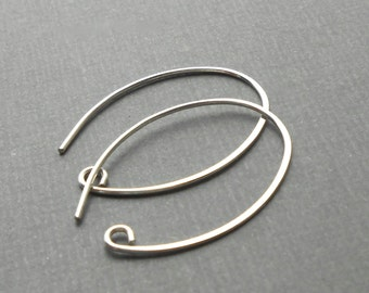 Large rounded sterling silver ear wires, silver ear hook, Large oval earwire
