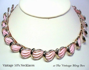 Pink Thermoset Choker Necklace in Plastic Waves Bezel Set Gold Modernist Design - Vintage Circa 1950's Costume Jewelry