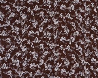 Vintage 1940s Rayon Crepe Fabric - Chocolate Brown Cream Floral Yardage - Sewing Supplies 3 Plus Yards