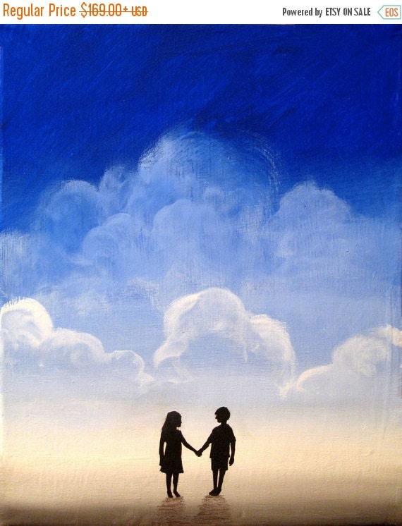 """Beach art """"We found love"""" wall canvas art kids landscape painting silhouette art wall art beach decor"""