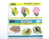 Vintage Eureka Seals, Birds and Flowers, Two Complete Packets (A1)