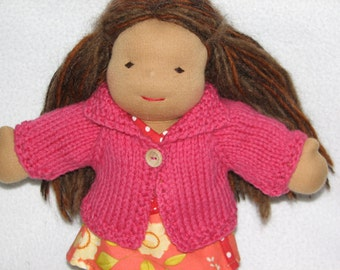 Waldorf Doll Sweater for 10 inch Doll in Deep Pink Wool RTG