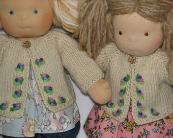 Waldorf style Doll Sweater for 15 inch doll RTG hand knit and hand embroidered