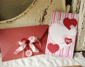 Valentines day card for friend stitched card With decorative envelope Shabby Chic pink Valentine's Day gift Love Card hearts