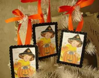 halloween gift tags for little girl party favor gifts tags vintage halloween gift wrap card scrap tags glittered halloween tags