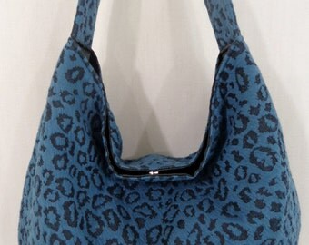 Slouchy BAG,  Shoulder Purse, Fall Winter, Small Medium Hobo, Sling Bag, Turquoise Leopard Print