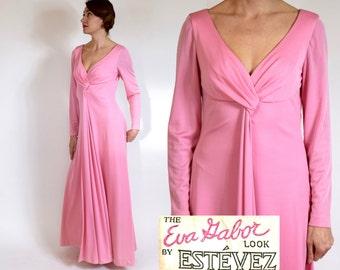 Estevez Dress 70s Pink Evening Dress | Eva Gabor Look | Long Pink Dress, Medium