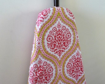 Ironing Board Cover - pink floral damask with olive green