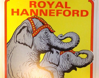 Vintage Circus Poster 1980's Elephants Elephant FREE Shipping Royal Hanneford Rye Playland