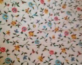 Vintage Cream Ivory Calico Floral Quilting Fabric Material