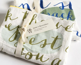Mother's Day Set of Two, Flour Sack Kitchen Towels