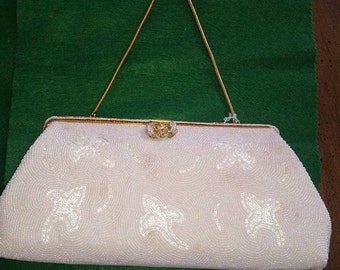 Vintage French White Beaded Evening Purse
