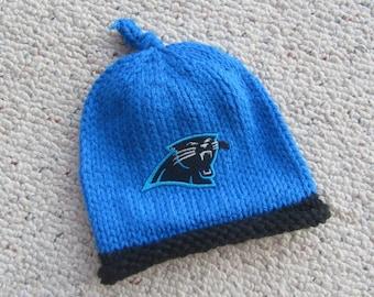 CAROLINA PANTHERS Baby Hat, Knit Baby Hat, Panthers Hat, Carolina Baby Hat, Hand Knitted Baby Hat, Baby Hat, Football Hat, Knitted Baby Hat